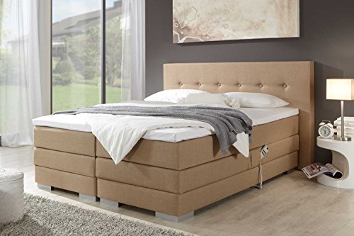 Single Boxspringbett Malibu, elektrisch verstellbar, Made in Germany, Tonnentaschenfederkern in der Box UND in der 7-Zonen Matratze, Visco Topper, Cappuccino, H2/H3, 80x200cm